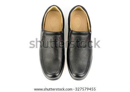 black leather shoe on white background - stock photo