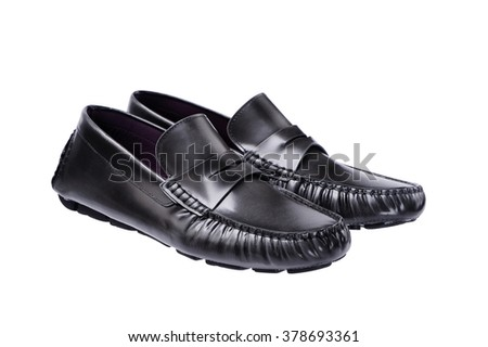 Black Leather Shoes Men , Men Accessories isolated on white - stock photo