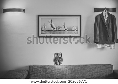 black leather shoes with white background - stock photo