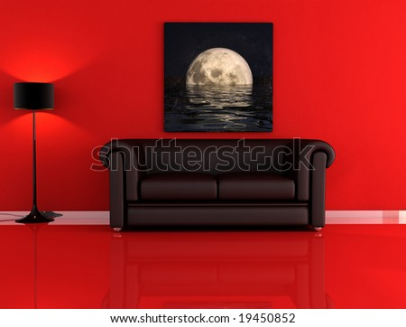 black leather sofa and the moon in a red room - stock photo