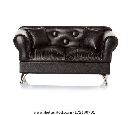 black leather sofa, couch isolated - stock photo