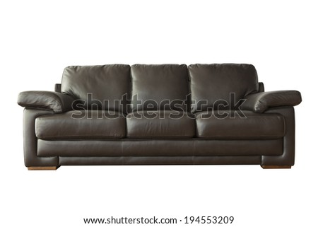 Black leather sofa isolated on white background with clipping paths - stock photo