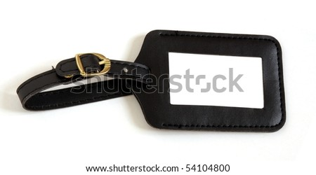 black leather suitcase label isolated on white background - stock photo