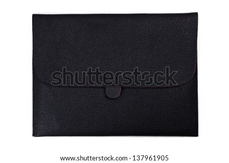 Black leather tablet computer bag on a white background - stock photo