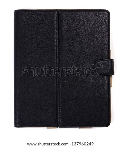 Black leather tablet computer case on a white background - stock photo