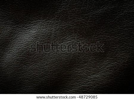 Black leather texture horizontal orientation - stock photo