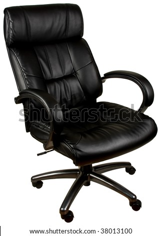 Black Leather Tilt Swivel Office Chair with Casters - stock photo