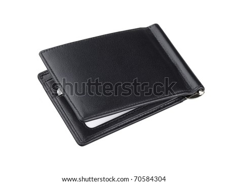 Black leather wallet for keep your cards ID and banknote an image isolated on white