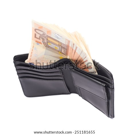 Black leather wallet full of fifty euro bank notes isolated over the white background - stock photo