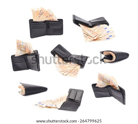 Black leather wallet full of fifty euro bank notes isolated over the white background, set of multiple different foreshortenings - stock photo