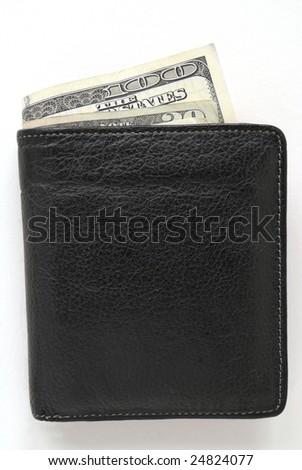 Black Leather Wallet Holding One Hundred Dollar Bills. - stock photo