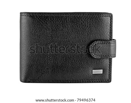 Black leather wallet isolated on a white background - stock photo