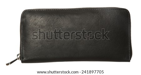 Black Leather Wallet isolated on white background - stock photo