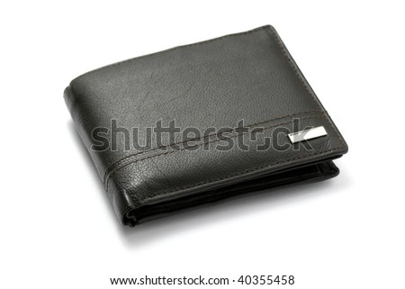 Black leather wallet isolated on white background. - stock photo