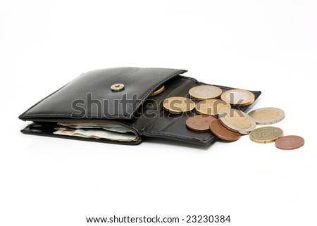 black leather wallet open and euro coins isolated on white