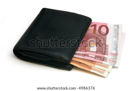 Black leather wallet / purse / money pouch. - stock photo