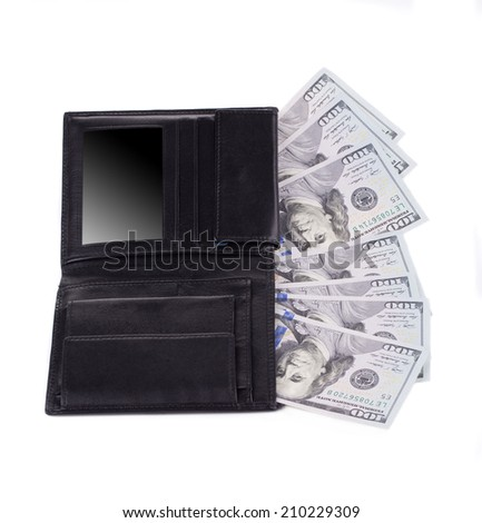 Black leather wallet with american dollars. Isolated on a white background.