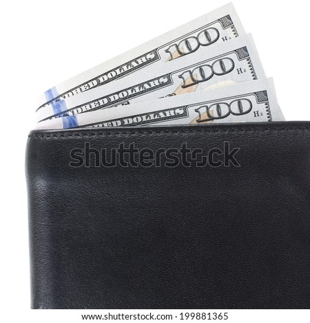 Black leather wallet with dollar bills. white background.