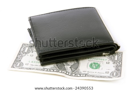 black leather wallet with dollar on a white background