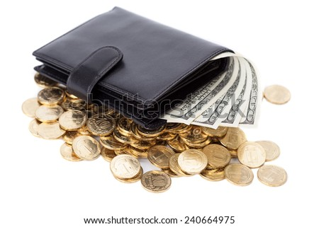 Black leather wallet with dollars and golden coins on white - stock photo