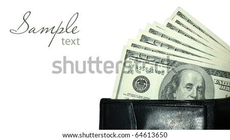 Black leather wallet with dollars white isolated - stock photo
