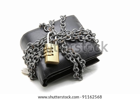 black leather wallet with pad lock - stock photo