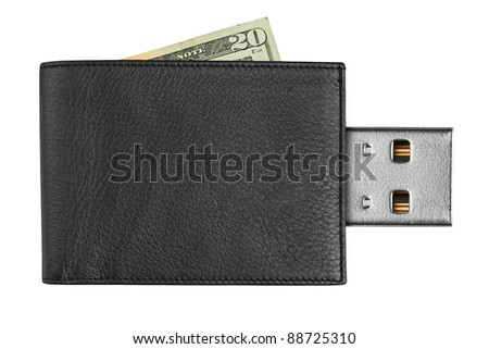 black leather wallet with USB connector, isolated on white background - stock photo