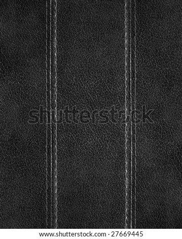 black leather with stitch background - stock photo