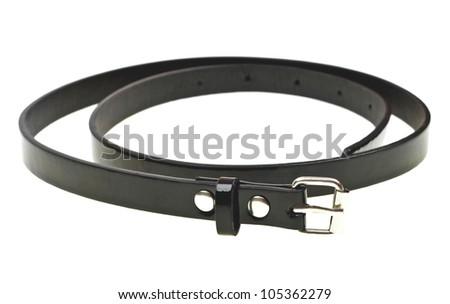 Black leather womens belt isolated on white background - stock photo