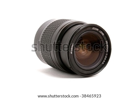 black lens with cover isolated on white background - stock photo