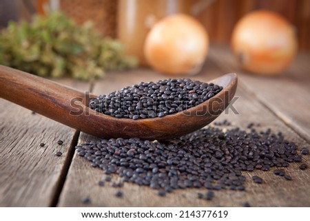 Black lentils on a wooden spoon - stock photo