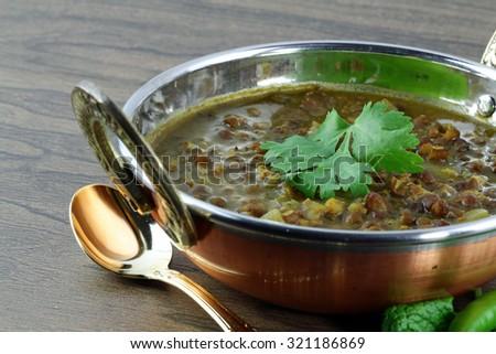 Black Lentils,  selective focus. - stock photo