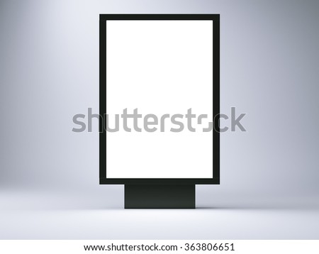 black lightbox in the empty studio. Front view. Blank gray wall background. 3d render - stock photo