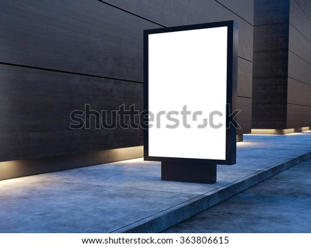 Black lightbox on the city street. Wood facades of modern buildings in background. 3d render - stock photo
