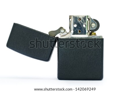Black lighter isolated on white background - stock photo