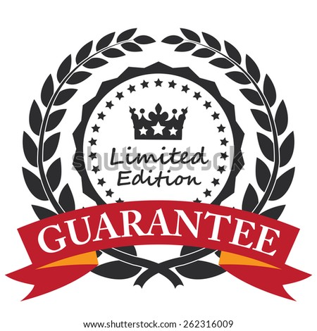 Black Limited Edition Guarantee Wheat Laurel Wreath, Ribbon, Label, Sticker or Icon Isolated on White Background - stock photo
