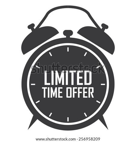 black limited time offer on alarm clock sticker, badge, icon, stamp, label, banner, sign isolated on white - stock photo