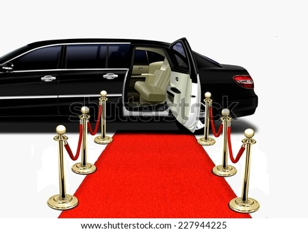 Black Limo on Red Carpet Arrival - stock photo