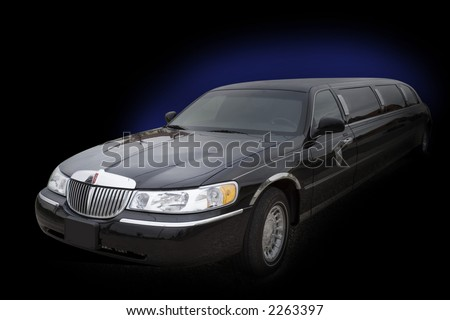 Black limo with bluish glow