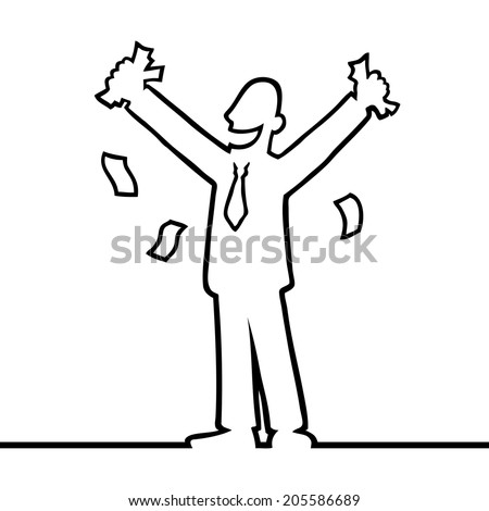 Black line art illustration of a cheering business man with money