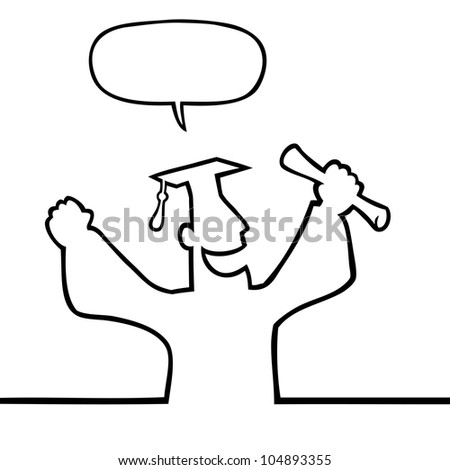 Black line art illustration of a happy graduate with diploma. - stock photo