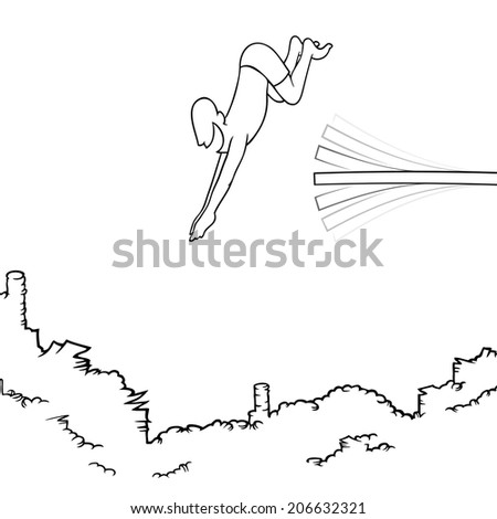 Black line art illustration of a man diving off a diving board into a big pile of money. - stock photo