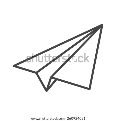 black linear paper plane icon - stock photo