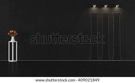 Black living room with shape of classical columns on the wall - 3D Rendering