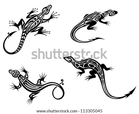 Black lizards isolated on white background in tribal style with decorative elements. Vector version also available in gallery - stock photo
