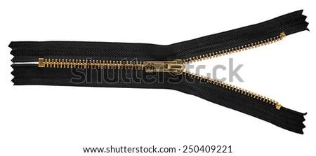 Black LockersFor zipper isolated on white background. - stock photo