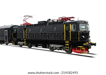 Black locomotive with a black coach standing on its track Isolated on white background