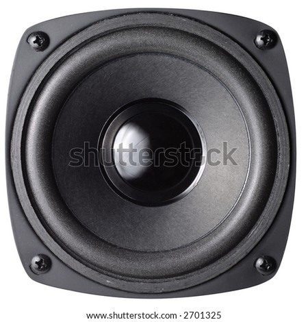 Black loud speaker with clipping path isolated over white background