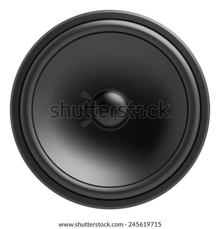 black loudspeaker isolated on white background - stock photo