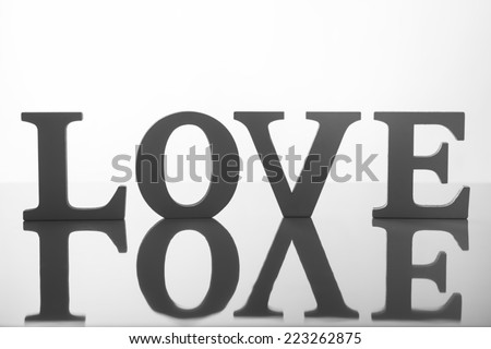 black love words on white background